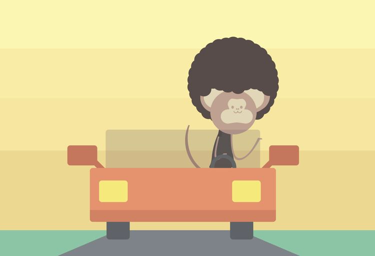 monkey, car, vector, toasttheheart - toasttheheart   ello
