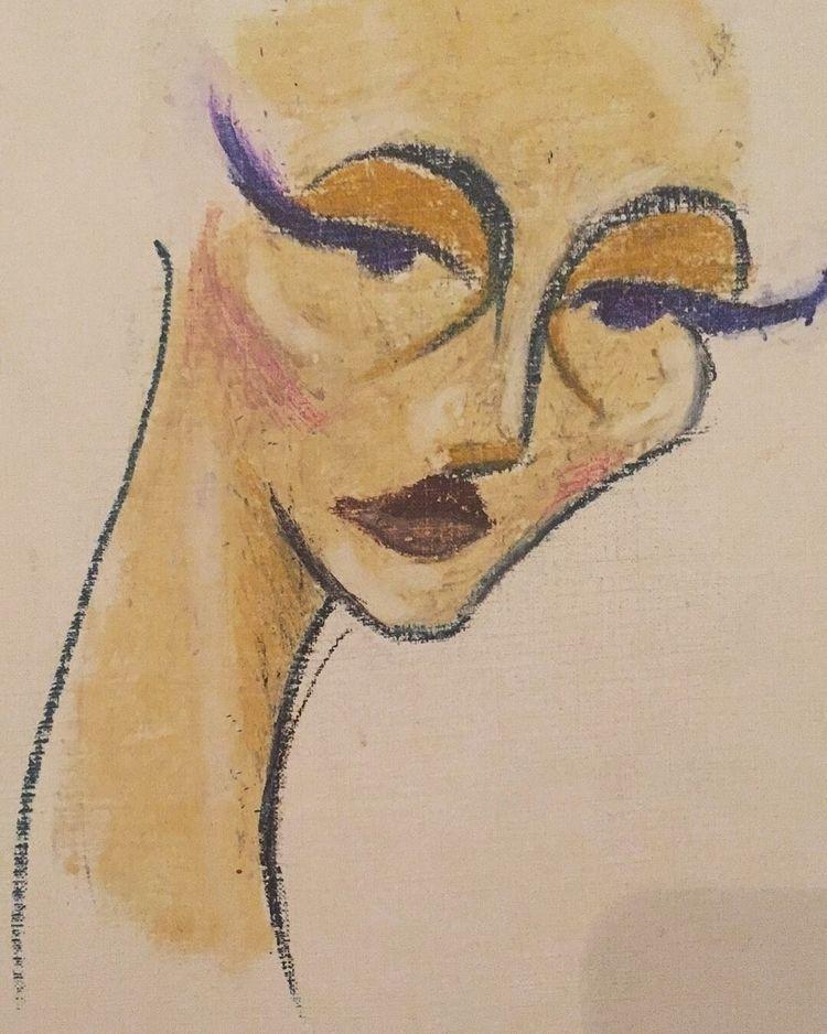 Portrait day oil pastel canvas - quidamnesia | ello