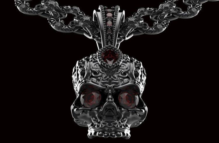 Skull Biker Necklaces Wz Swarov - piettro3d | ello