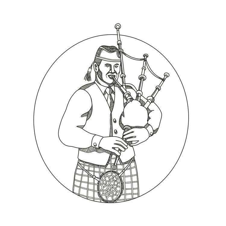 Scottish Bagpiper Doodle Art - ScottishBagpiper - patrimonio   ello