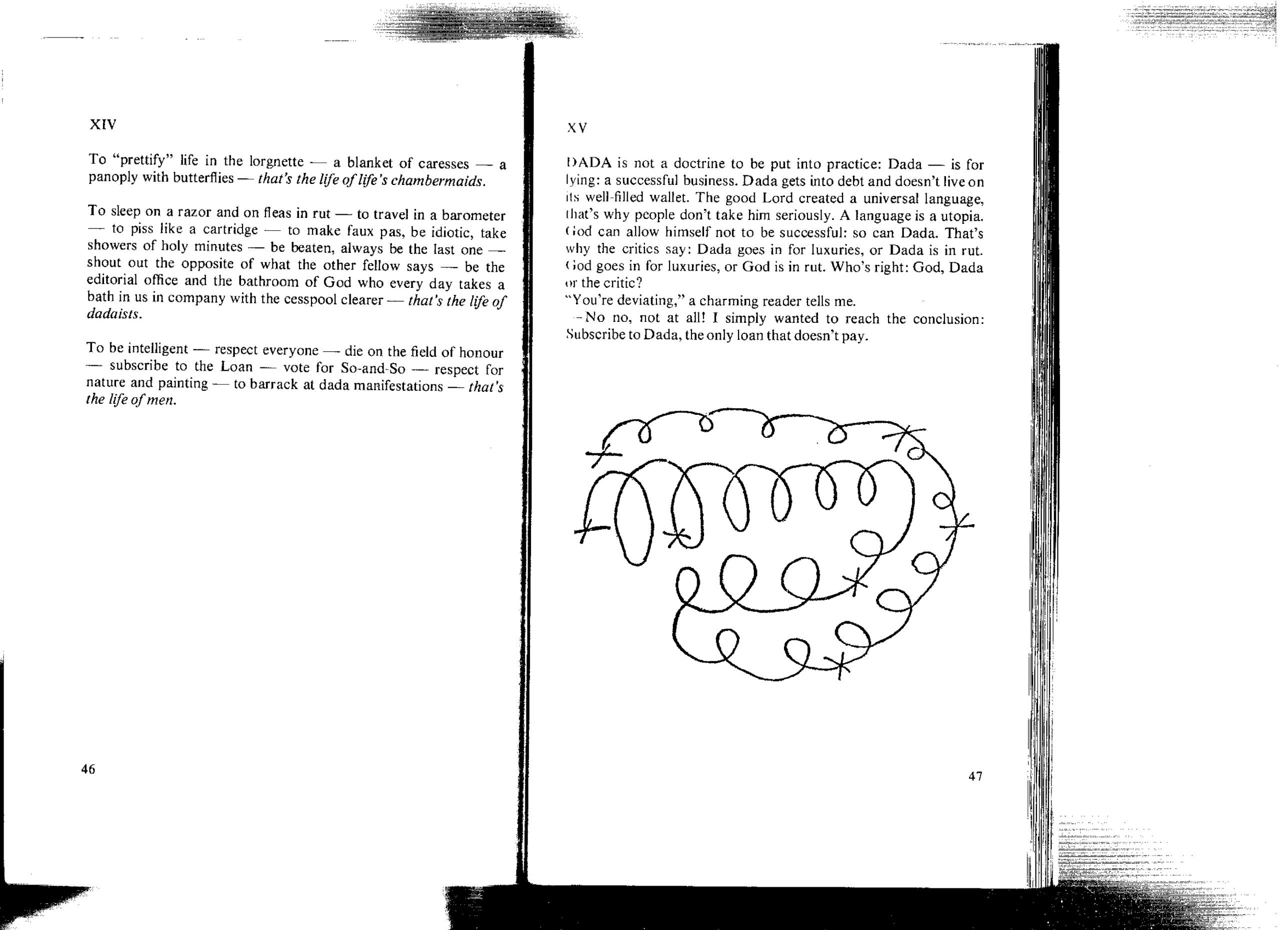 Zdjęcie przedstawia kserokopię tekstu. Widzimy czarne litery na białym tle i niezgrabny rysunek.