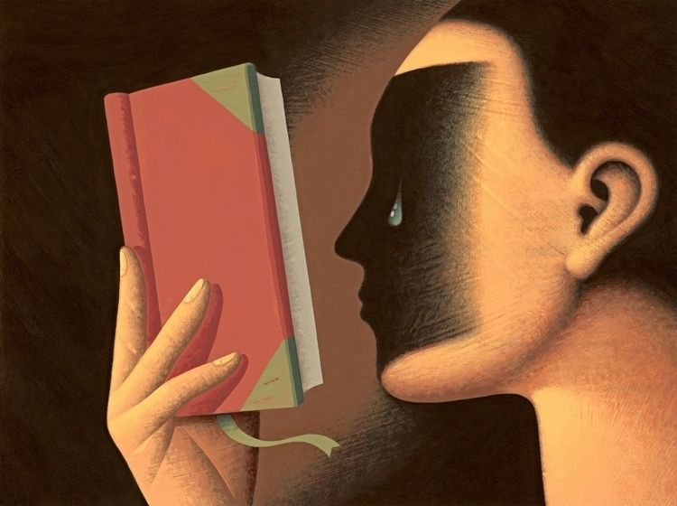 Reader - reader,#reading,#poetry,#poem,#book,emotion,#tearing,#tear,#woman,#shadow - nikad | ello