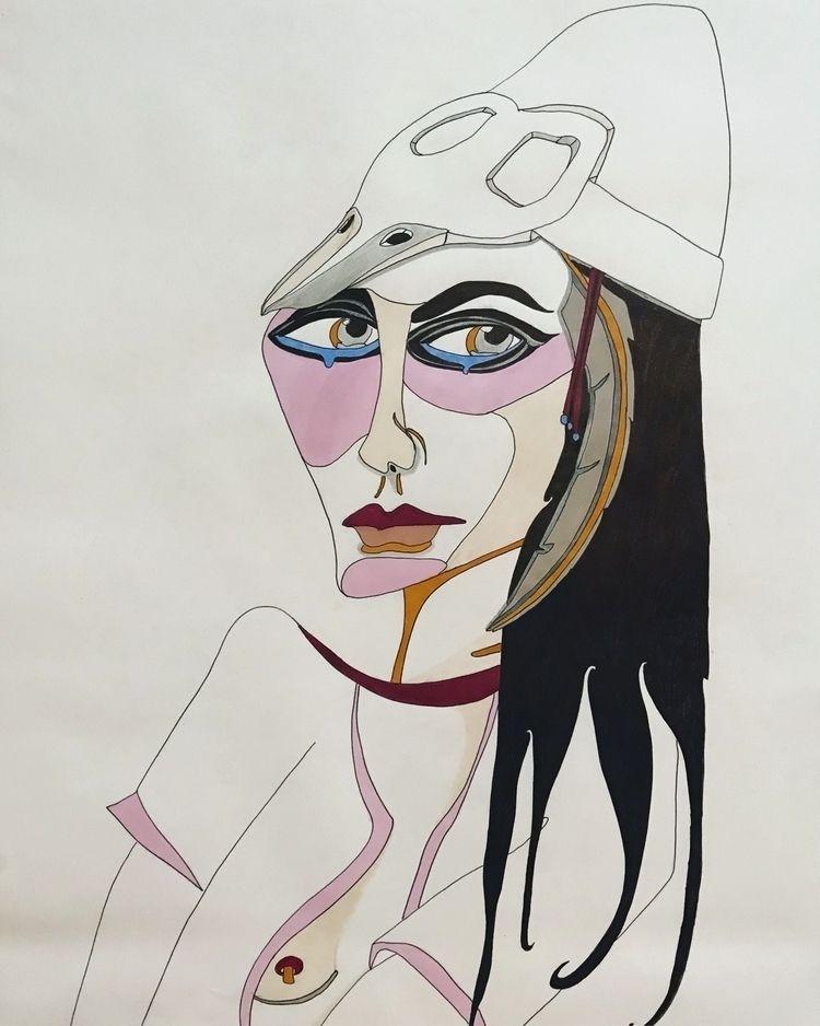 Woman bird mask. Felt tip pen A - naomilittle | ello