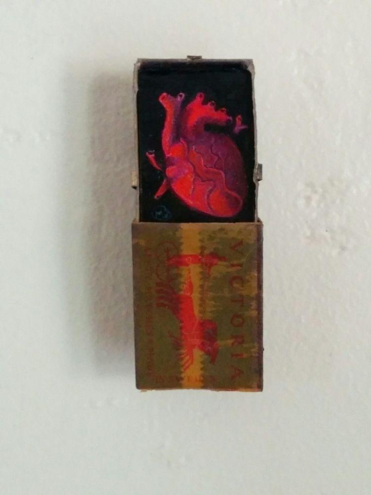 heartbox, miniature, oil panel - myklwells | ello