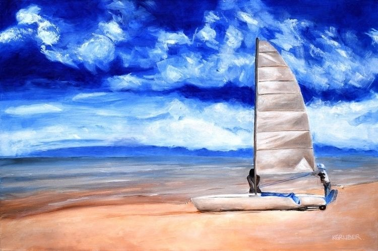 Sailing Seacliff - beach, painting - kat-art | ello