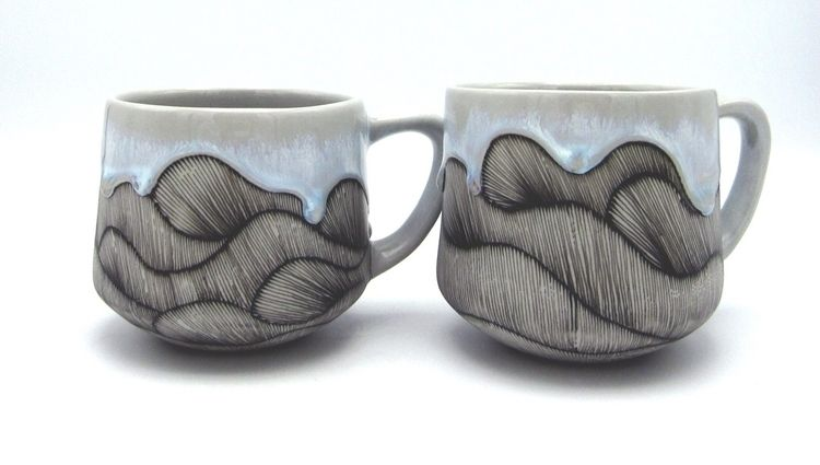 Line drawing mugs - meditation, meditativedrawing - singletooth | ello
