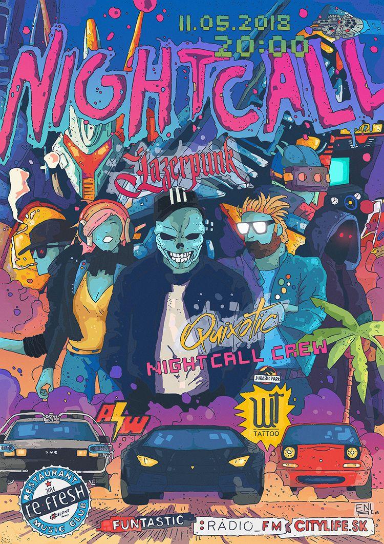 synthwave poster Nightcall - 2, eniac - artereniac | ello