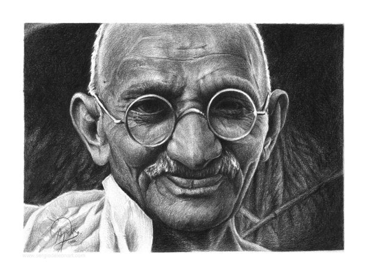 Mahatma Gandhi 9X12 graphite co - sergiodeleonart | ello