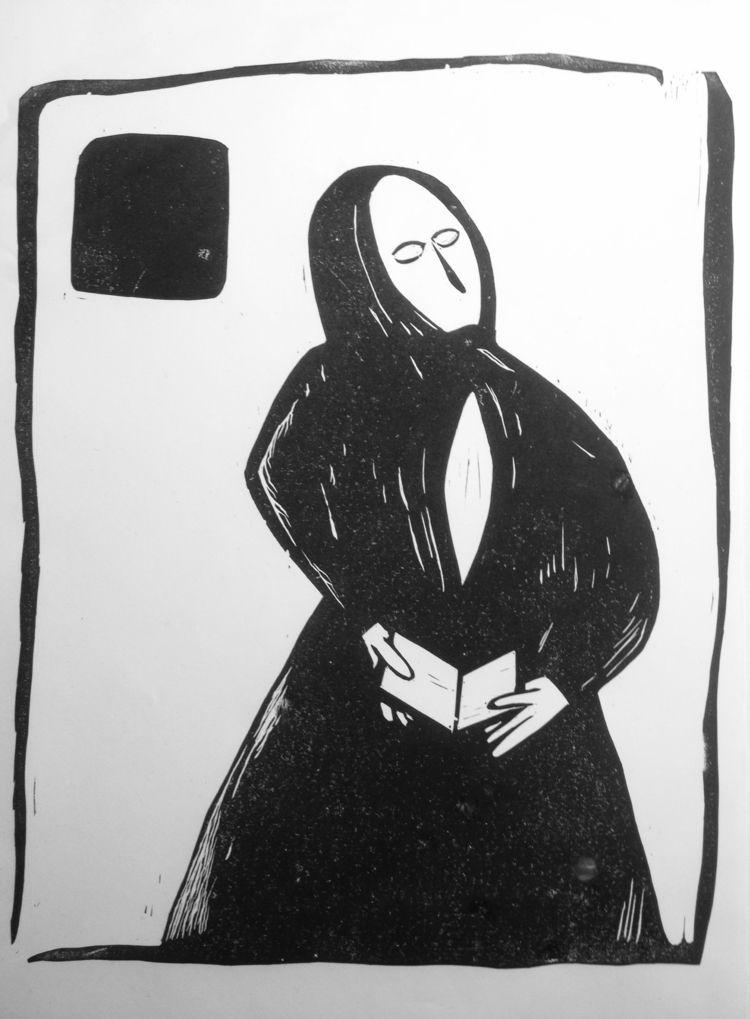 Woman Zagorsk Linocut 30х40cm 3 - maler_malyar | ello