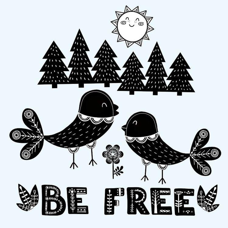 "Free"" cute Scandinavian Style - birds - littlebunnysunshine | ello"
