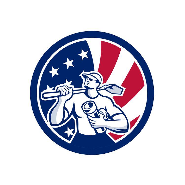American Drainlayer USA Flag Ic - patrimonio   ello