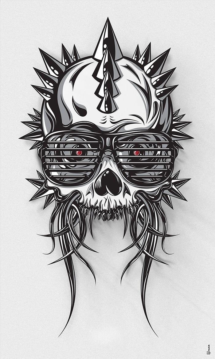 Mohawk Skull - illustration, arissakkas - arissakkas   ello