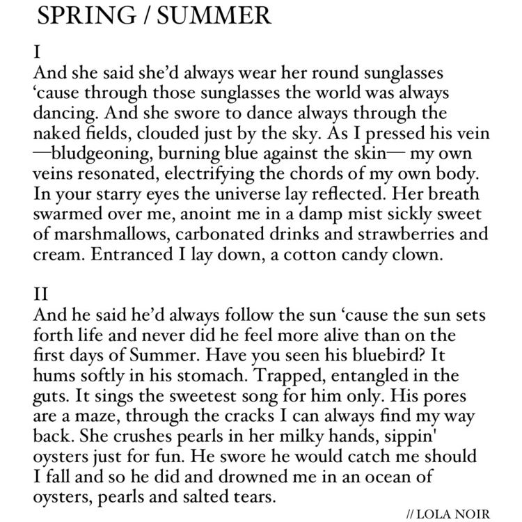 SPRING / SUMMER poem parts Lola - lola_noir | ello