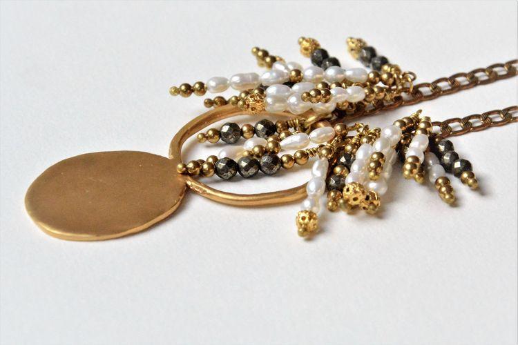 Pyrite Pearls 18k Gold plated m - olympezulma   ello
