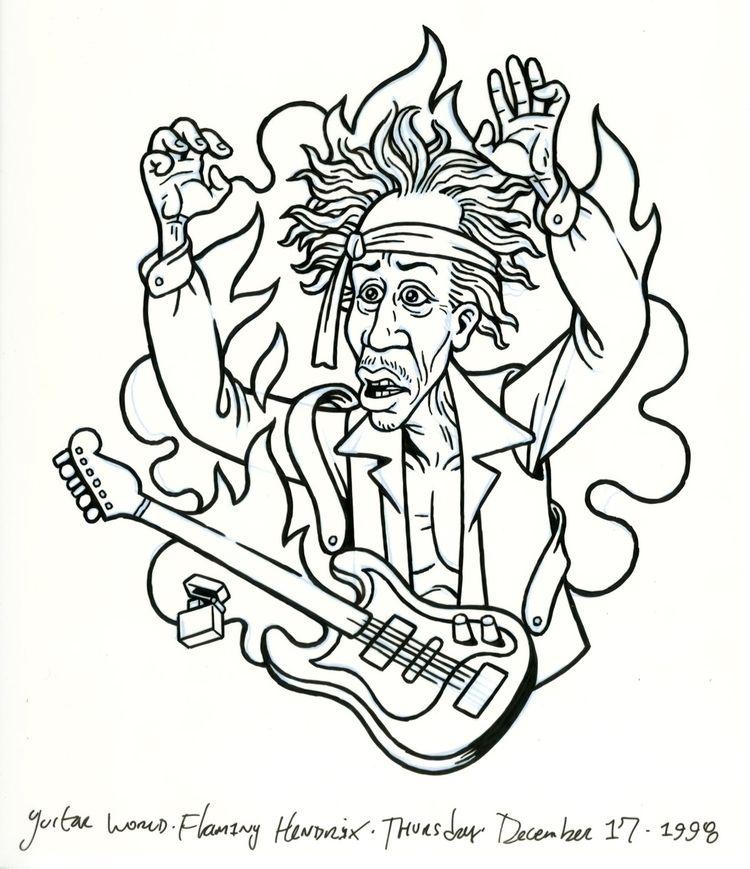 Flaming, Aged Hendrix, illo GUI - dannyhellman | ello