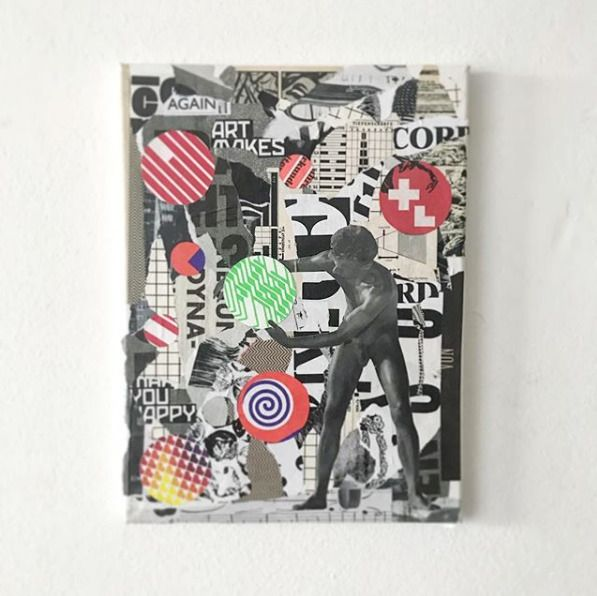 """Fokus Pokus"", collage canvas,  - deshalbpunkt 