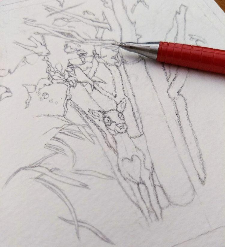 Starting bambi drawing evening - enelojial   ello