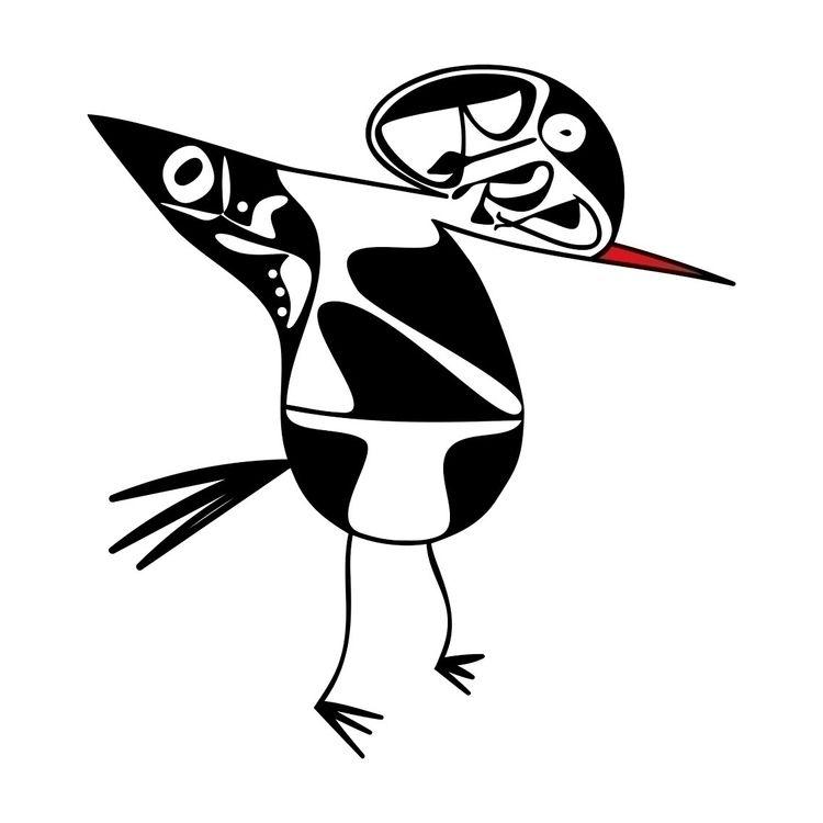 Bird - bandw, calligraphy, ello - halehj | ello