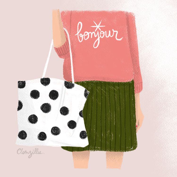 bonjour, girl, totebag, fashiondrawing - clemzillu | ello