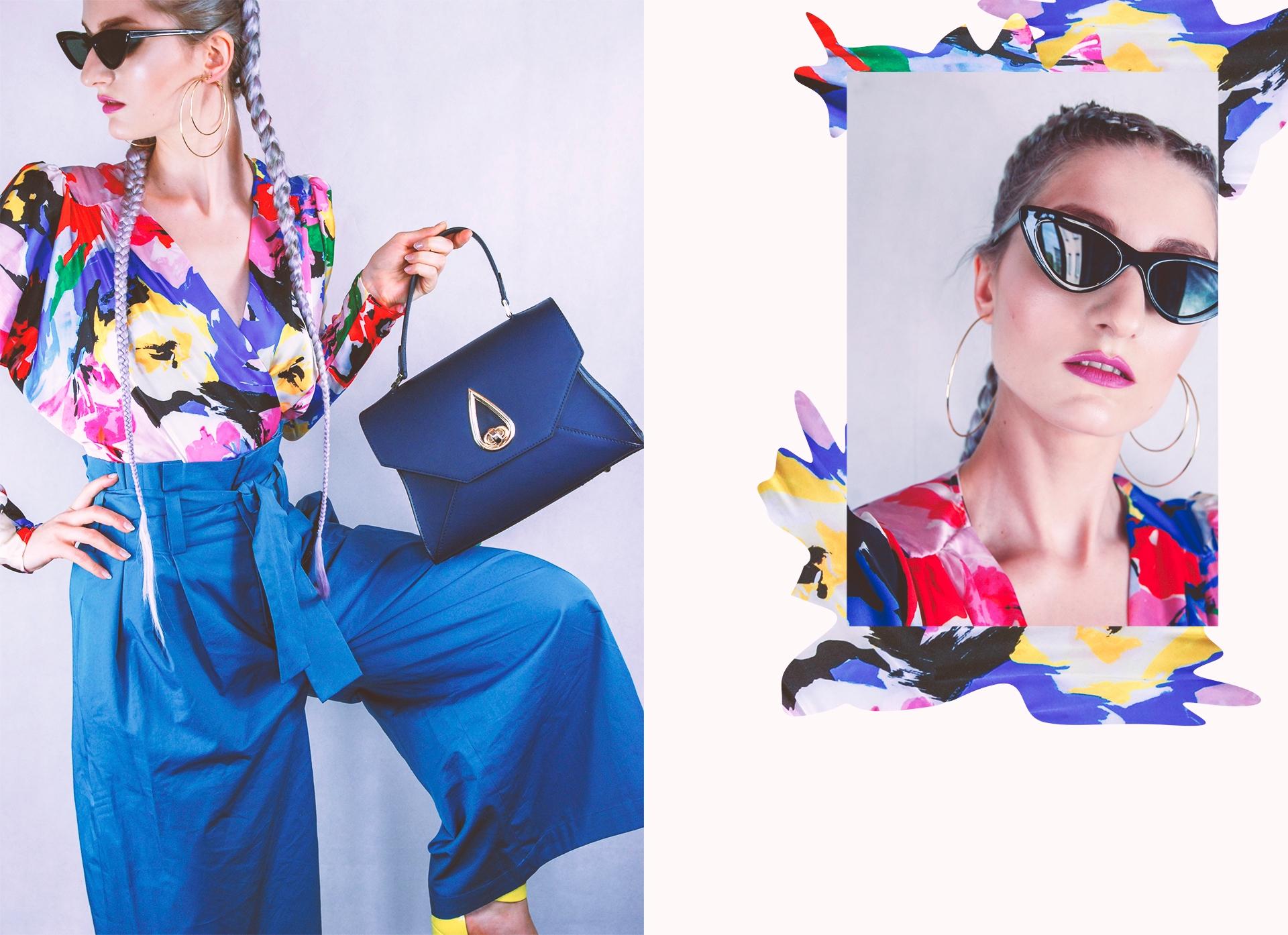 Obraz przedstawia dwa zdjęcia kobiety w niebieskich spodniach, kolorowej bluzce, trzymającej granatową torebkę. Zdjęcie po prawej to portret kobiety w ciemnych okularach.