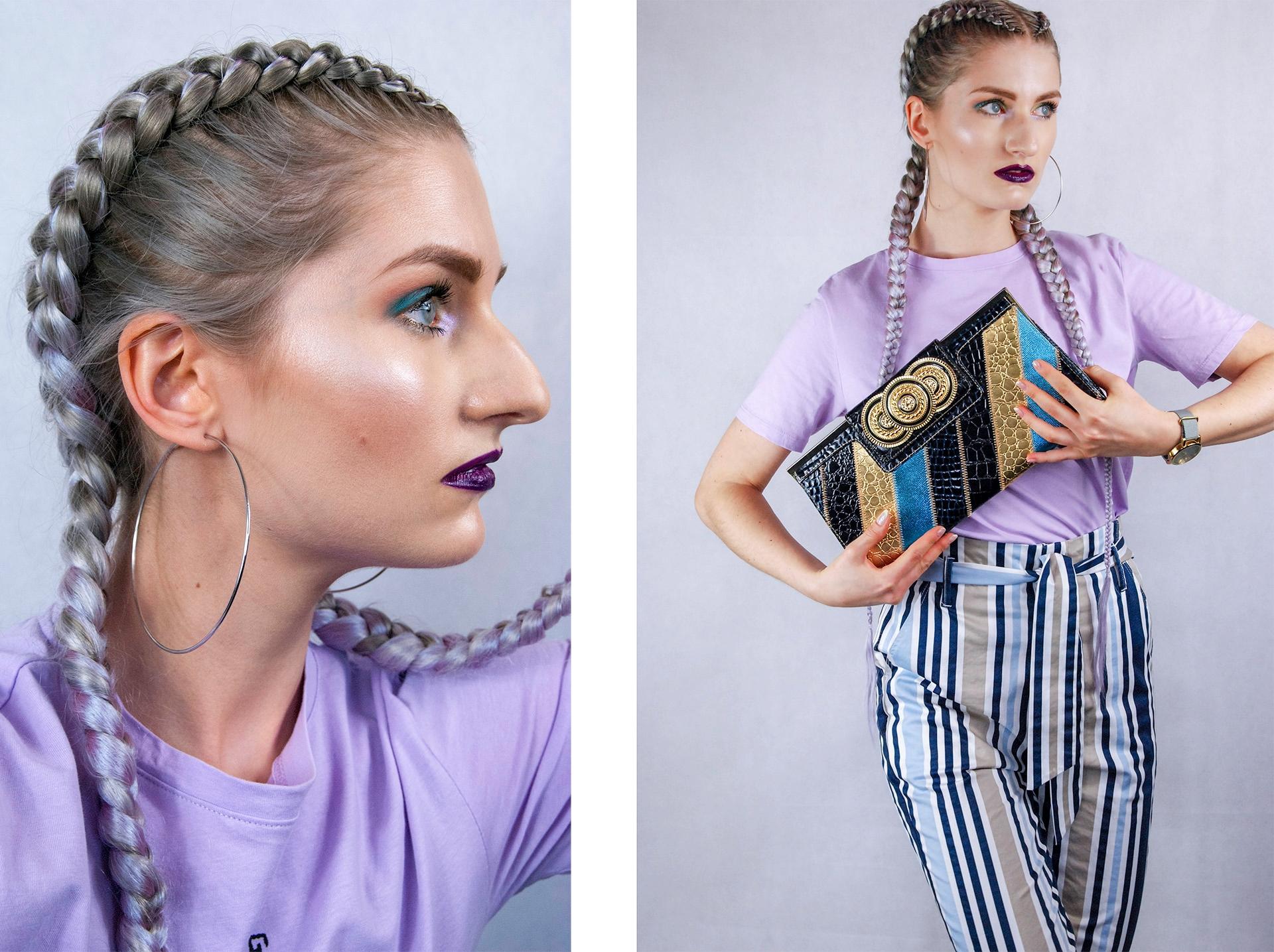 Obraz przedstawia dwa zdjęcia. Z lewej strony widzimy profil kobiety w warkoczach, z prawej sylwetkę kobiety w spodniach w paski, fioletowej koszulce z torebką w ręce.