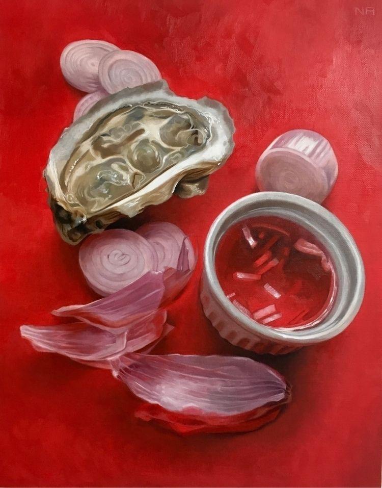 "oyster painting ""Mignon"" 14x11 - nadinerobbinsart | ello"