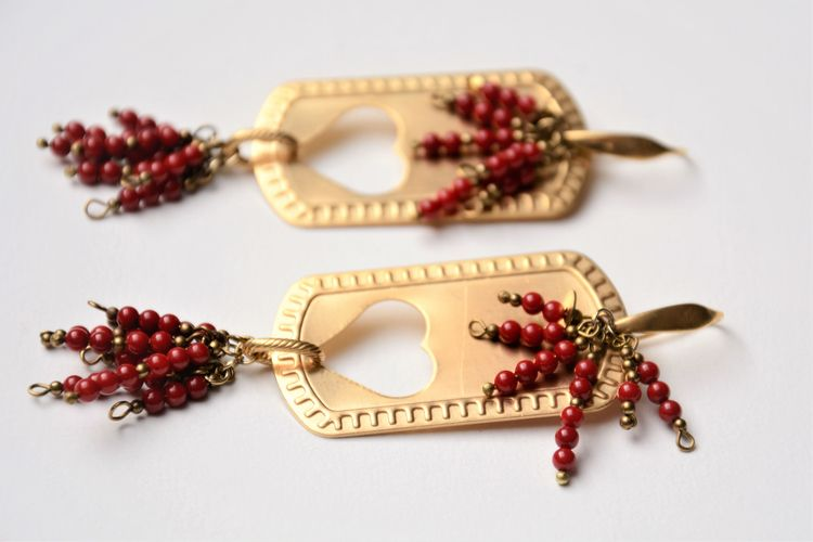 Coral Brass Earrings - makers, fashion - olympezulma | ello