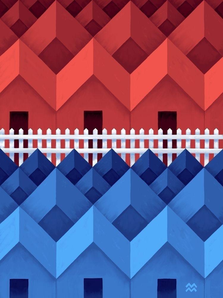 Fence + Houses II (dividing pol - miriamdraws | ello