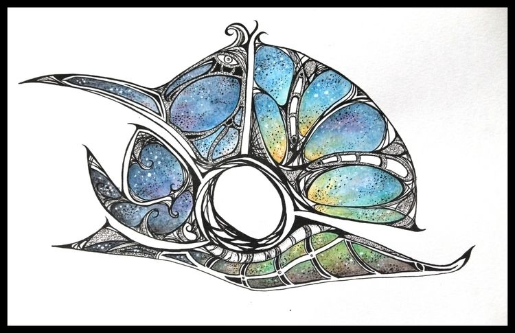 Space Snail Mixed media paper - space - disgruntledpeon | ello