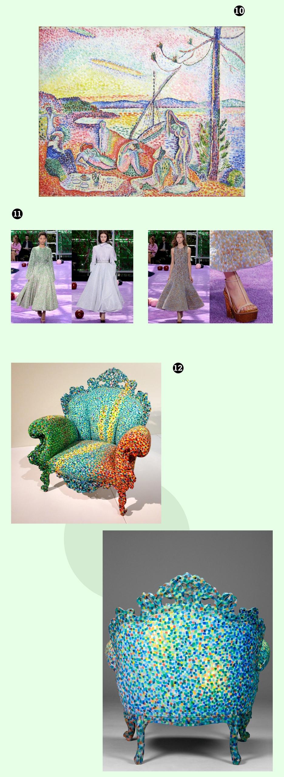 Obraz przedstawia pięć fotografii na zielonym tle. Widzimy kolorowy fotel, obraz i modelki spacerujące po wybiegu.