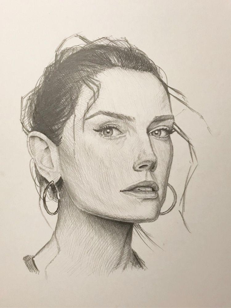 Daisy Ridley - portrait, portraitdrawing - drfisher | ello