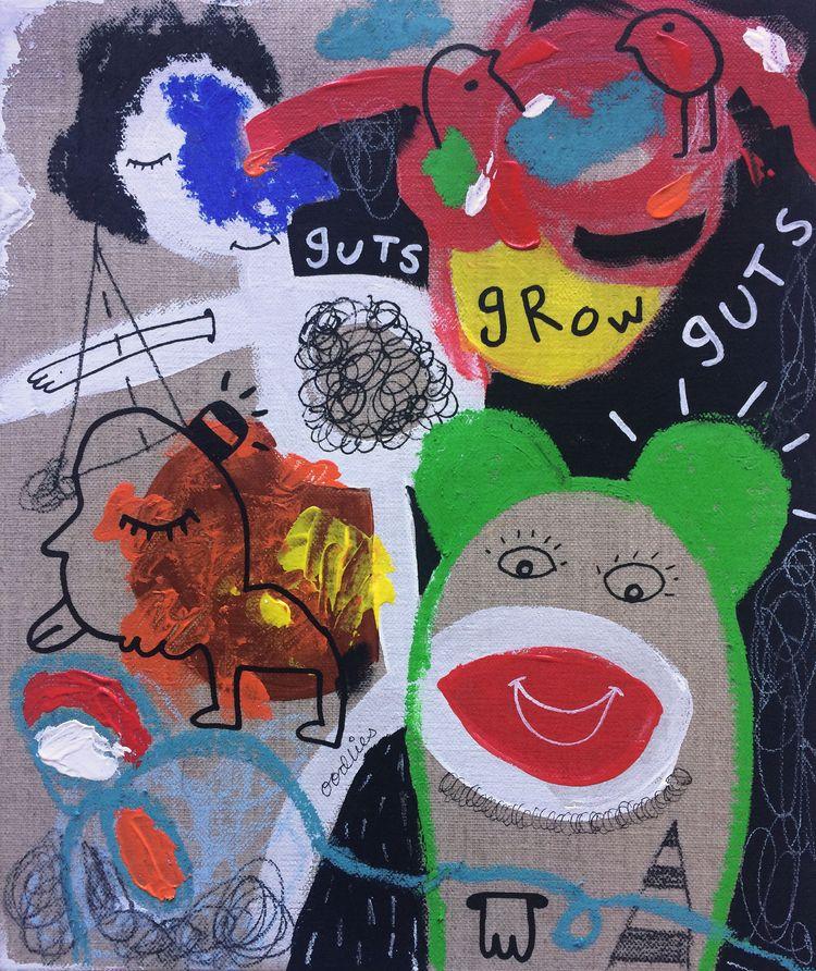 Guts Grow Mixed media canvas - joimurugavell | ello