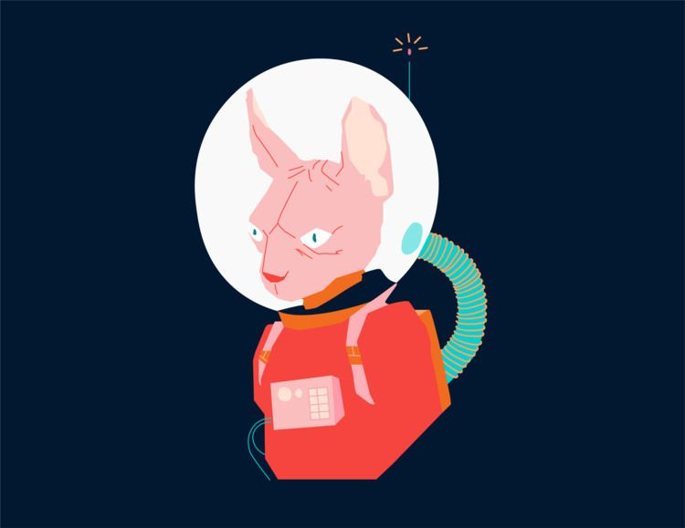 Space cat - illustration, elloart - mozoo | ello