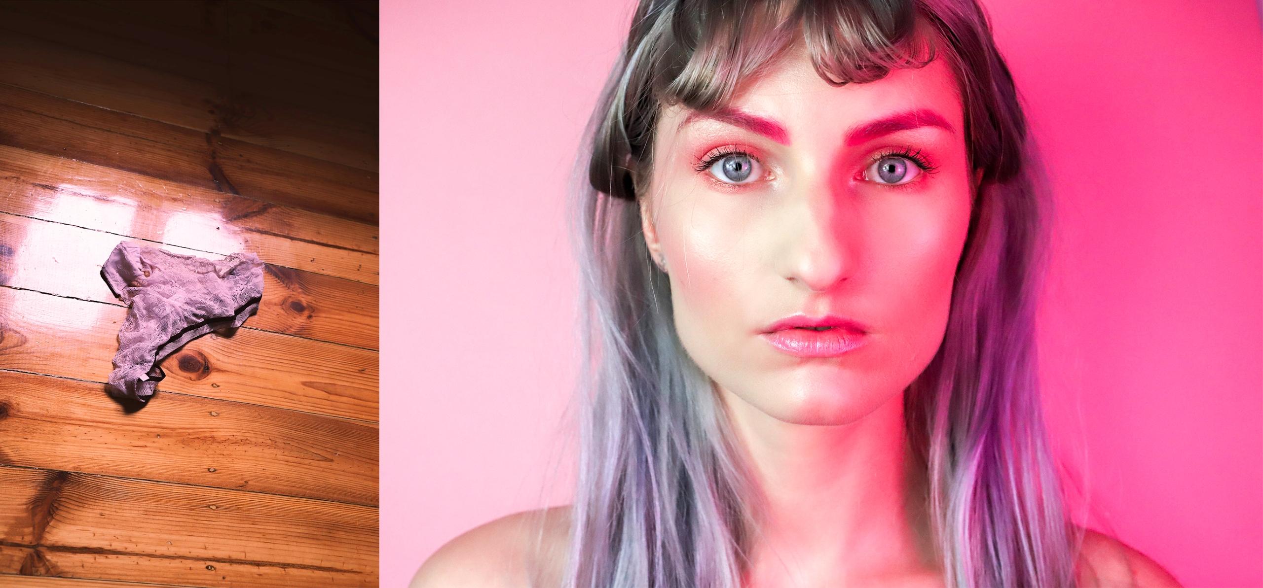 Obraz przedstawia dwa zdjęcia. Z lewej strony widzimy leżące różowe majtki na drewnianej podłodze, a z prawej twarz kobiety oświetloną różowym światłem.