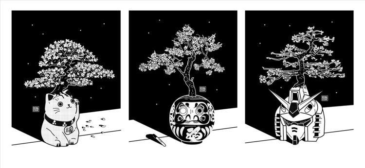 Sakura Trees - Triptych - rqsct   ello