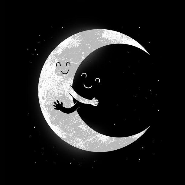 'Moon Hug - moon, humor, cute, space - digital_carbine   ello
