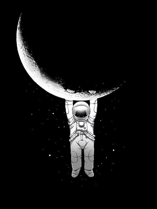 astronaut, fantasy, stars, crescent - digital_carbine | ello