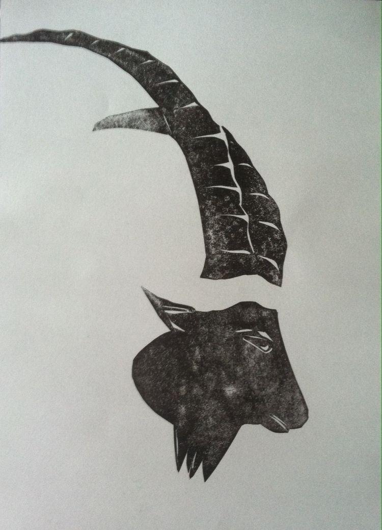 Goats horn - Linocut, Lino, print - maler_malyar | ello
