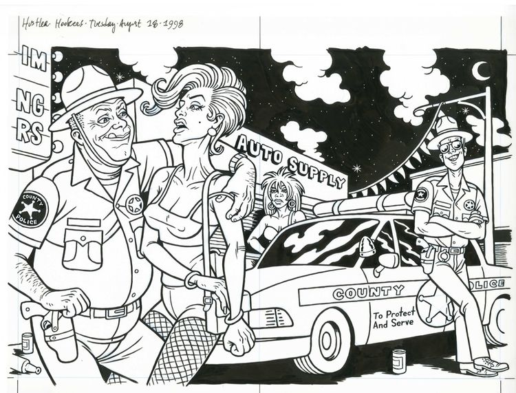 Hookers Cops, illo HUSTLER, 8/1 - dannyhellman | ello