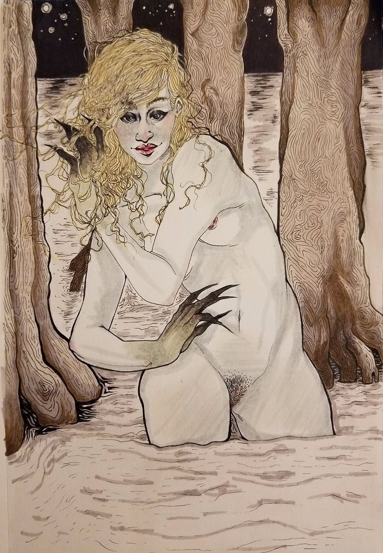 nymph, swamp, illustration, ink - ehnason   ello