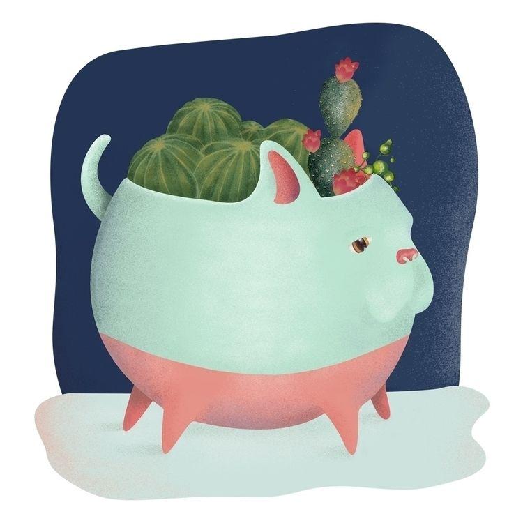 Dog pot - illustration, drawing - foxnaif   ello