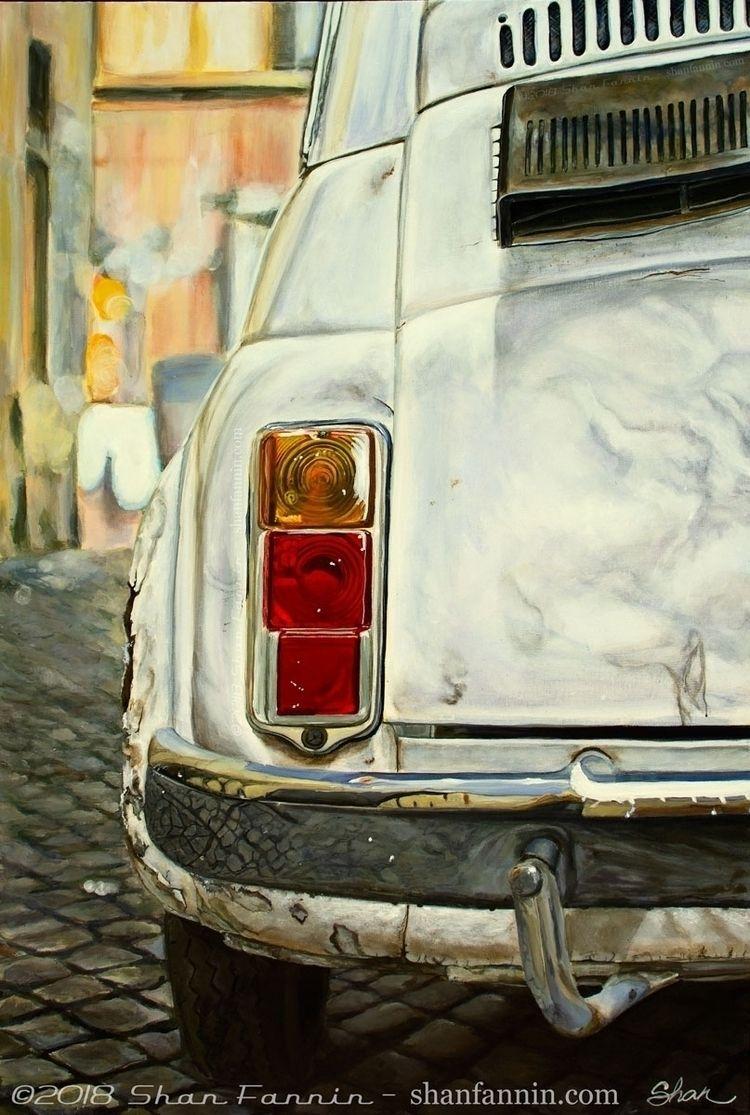 White Fiat Cinquecento, 24x36x1 - shanfannin   ello