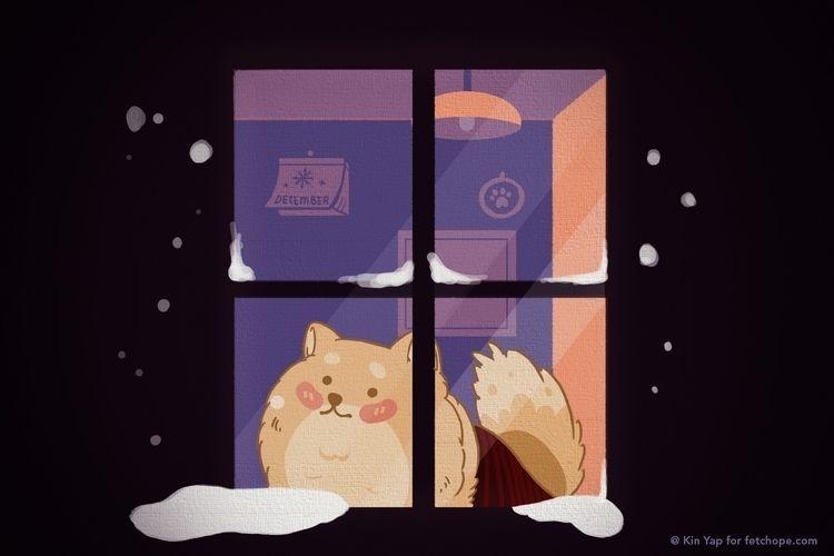 window snowy day ;  - doggy - fetchope | ello