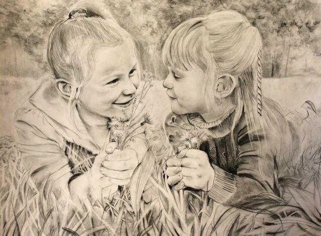 Sisters - Charcoal paper 30x40 - valentinafranchi92 | ello