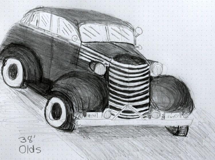 antiqueauto, antique, cardrawing - seanstaceyarts | ello