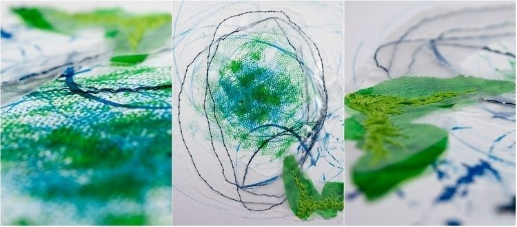 Green mixed media work (Canson  - monicasthreads   ello