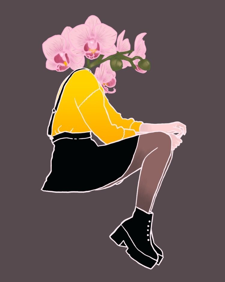 Orchid girl - flower, illustration - haskan | ello