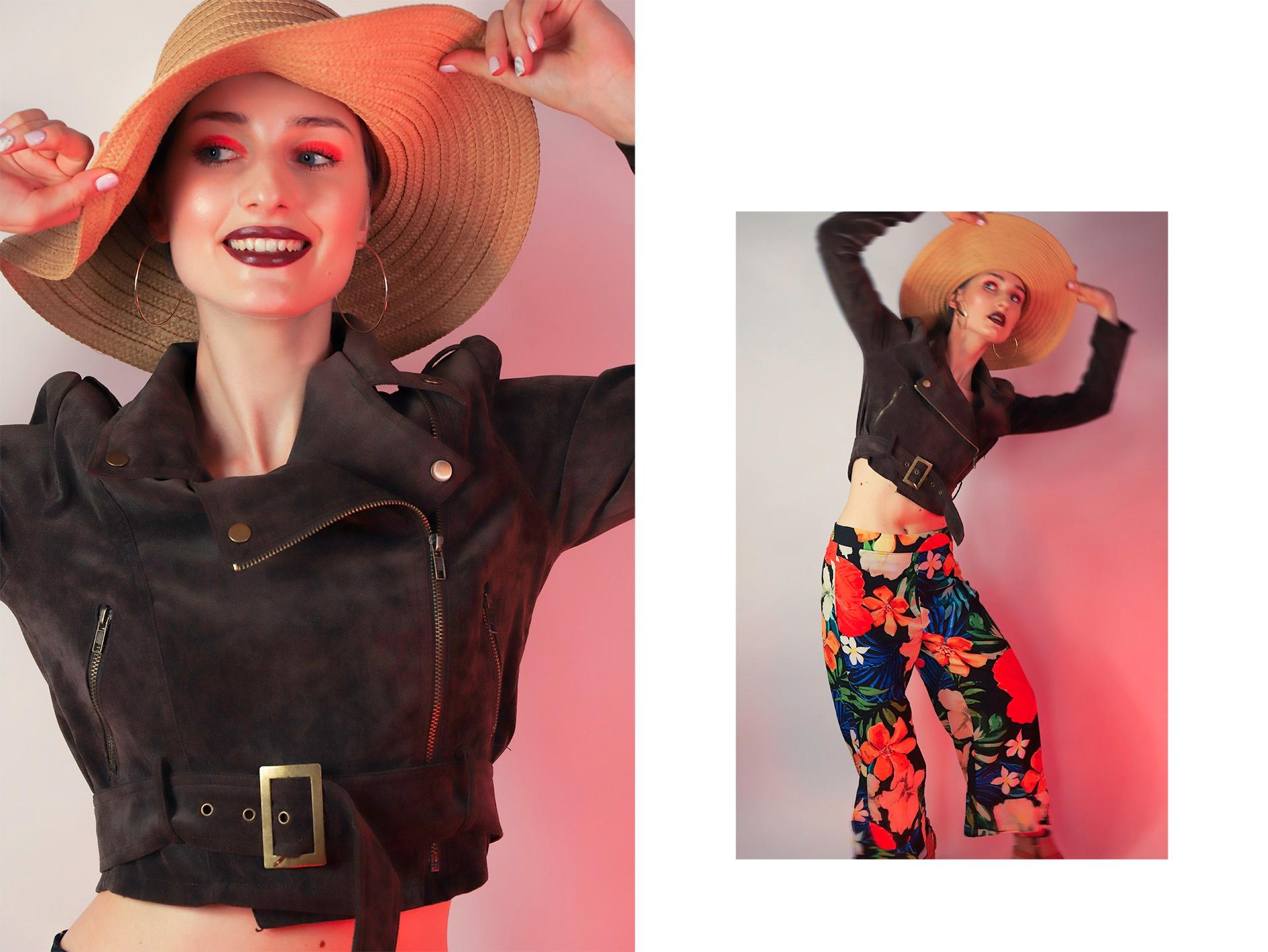 Obraz przedstawia dwa zdjęcia, zdjęcie z lewej strony to portret uśmiechniętej kobiety w kapeluszu, a po prawej stronie widzimy jej całą sylwetkę.