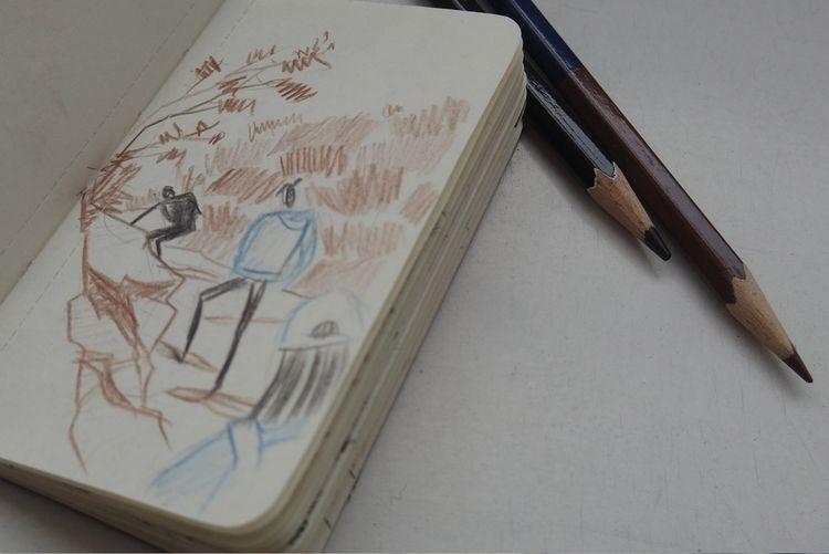 exercise travelogue sketching - pencilsketch - catsac | ello