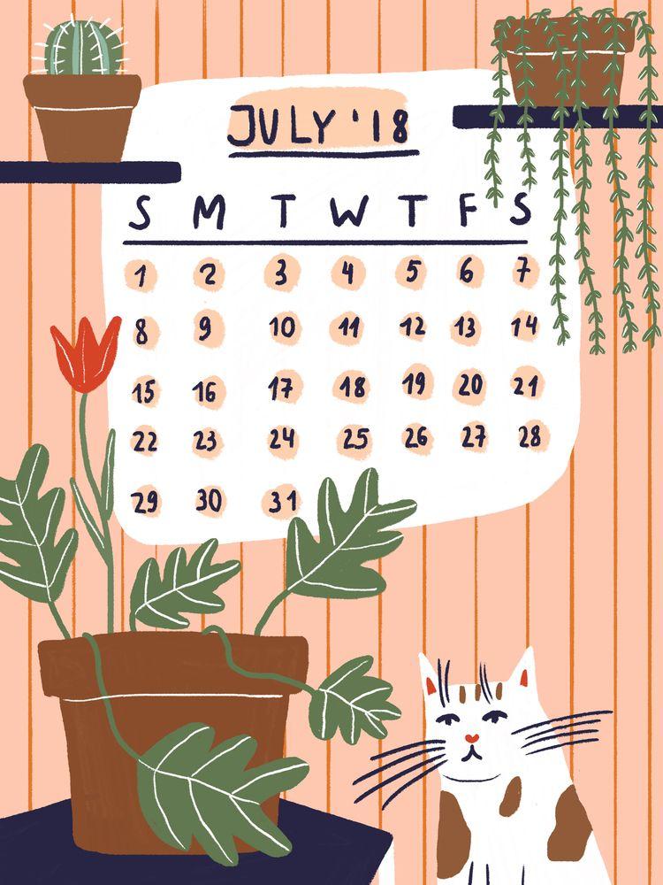 Happy July - july, calendar, illustration - sofinaydenova | ello